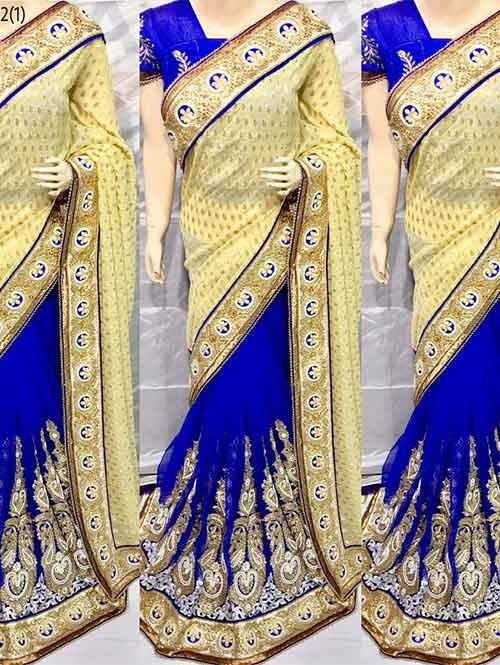 Blue Colored Beautiful Embroidered Pure Viscose Pallu and Net Patli Saree