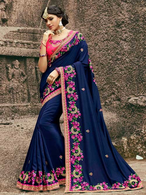 Blue Colored Beautiful Embroidered Rangoli Silk Saree