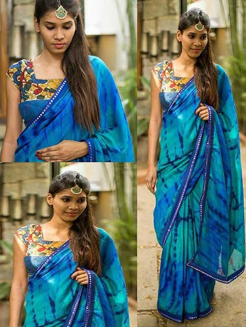 Blue Colored Beautiful Embroidered Sibori Print Georgette Saree