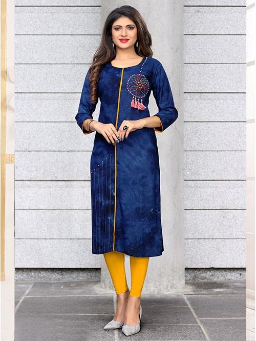 Blue Colored Beautiful Embroidered Straight Rayon Kurti