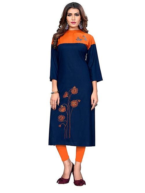 Blue Colored Beautiful Embroidered Straight Rayon Kurti.