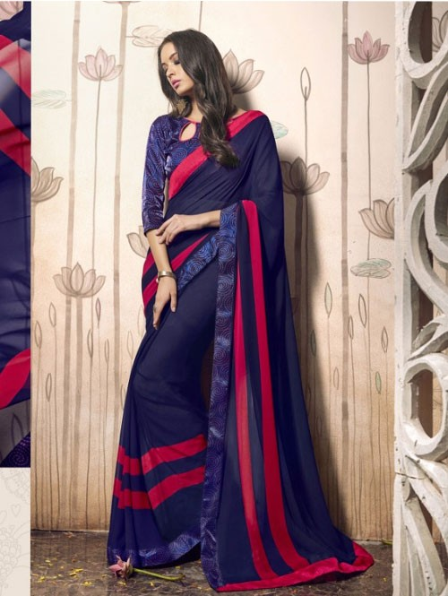 Blue Colored Beautiful Faux Georgette Saree with Printed Blouse.
