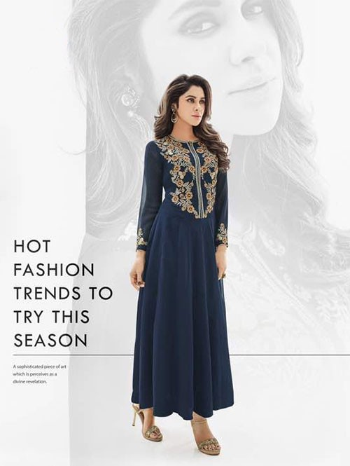 Blue Colored Beautiful Georgette Anarkali Style Kurti with Heavy Embroidery.