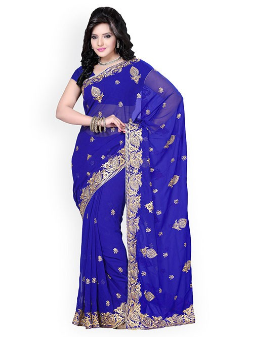 Blue Colored Beautiful Georgette Saree