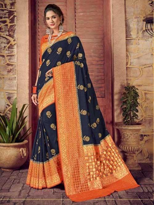 Blue Colored Beautiful Hand Dyeing Soft Silk Saree - Rani Jodha