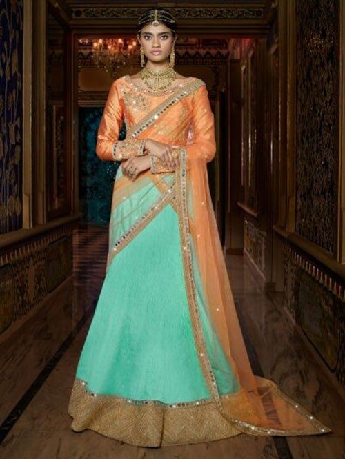 Blue Colored Beautiful Heavy Embroidered Australian Silk Lehenga Choli