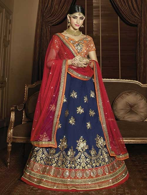 Blue Colored Beautiful Heavy Embroidered Melbourne Silk Lehenga Choli