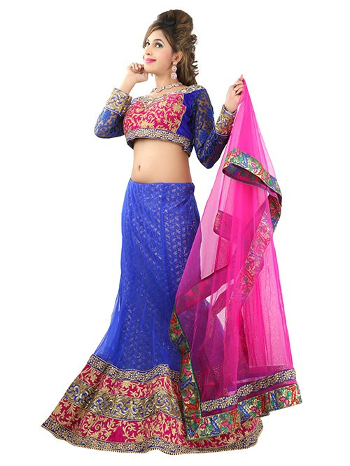 Blue Colored Beautiful Heavy Embroidered Net Lehenga With Beautiful Silk Choli