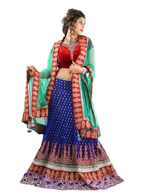 Blue Colored Beautiful Heavy Embroidered Net Lehenga With Beautiful Velvet Choli