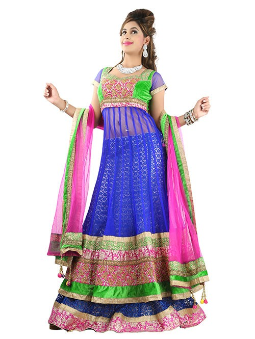 Blue Colored Beautiful Heavy Embroidered Net Lehenga With Beautiful Silk Choli
