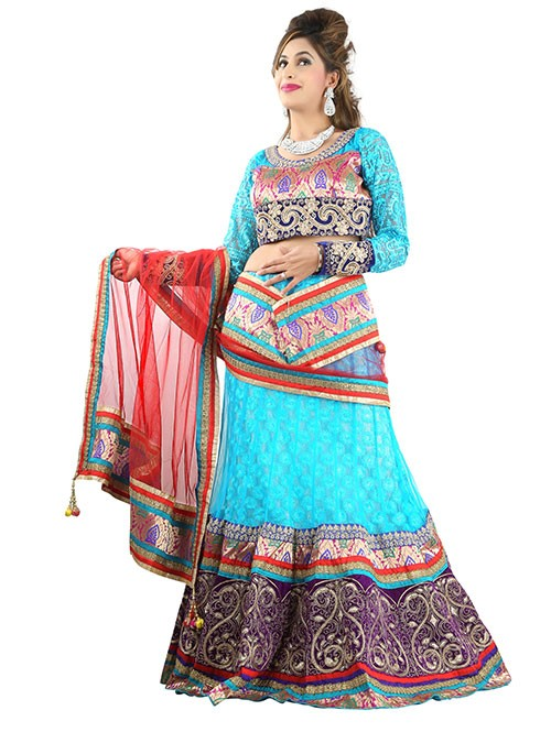 Blue Colored Beautiful Heavy Embroidered Net Lehenga