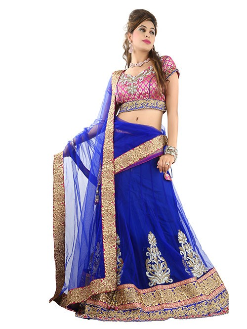 Blue Colored Beautiful Heavy Embroidered Net Lehenga With Matching Choli and Dupatta
