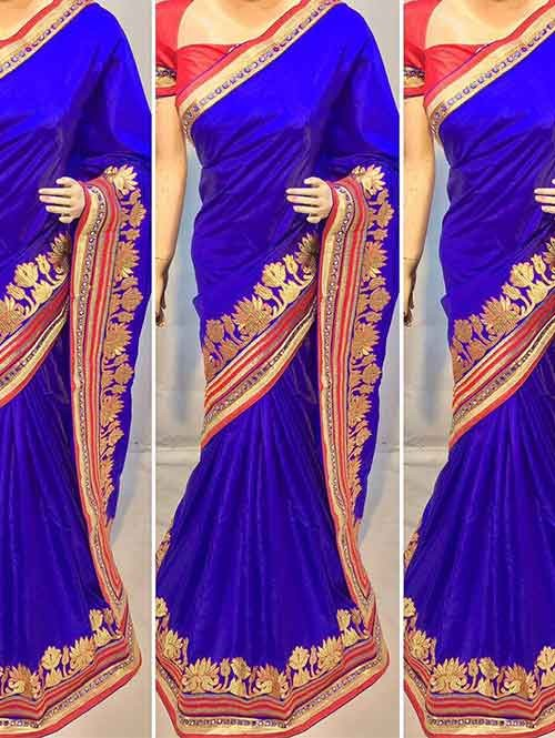 Blue Colored Beautiful Heavy Embroidered Original Saree.