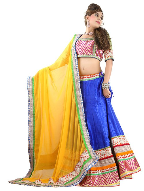 Blue Colored Beautiful Heavy Embroidered Silk Lehenga With Matching Choli and Dupatta