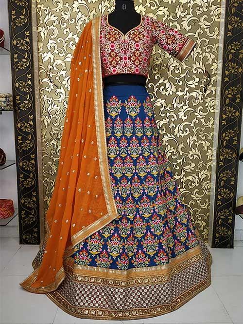 Blue Colored Beautiful Heavy Embroidered Tafeta Bridal Lehenga Choli