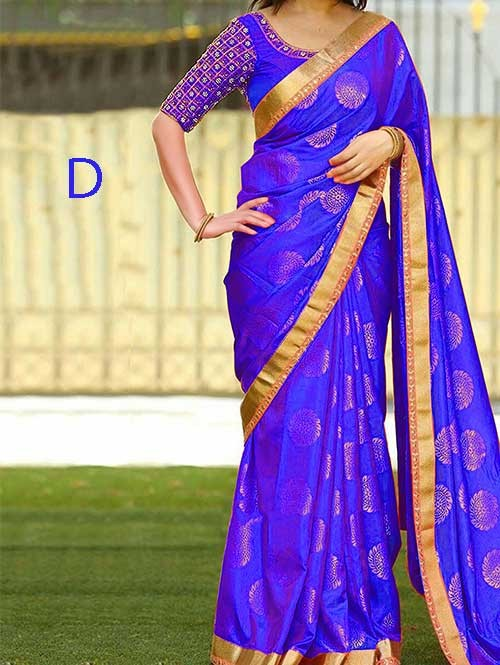 Blue Colored Beautiful Jacquard Silk Saree