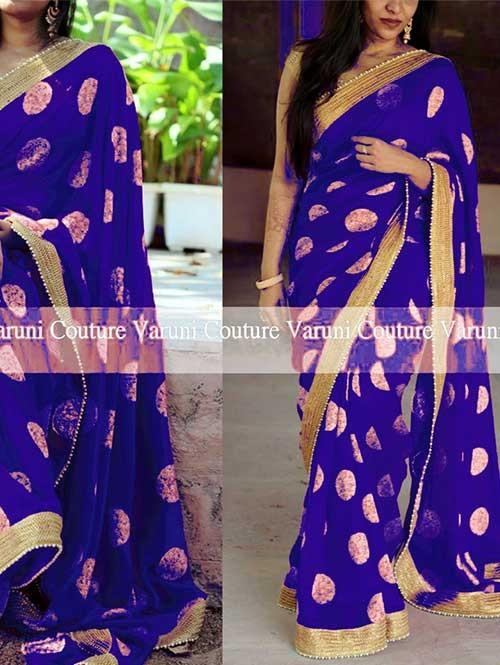 Blue Colored Beautiful Jacquard Silk Saree