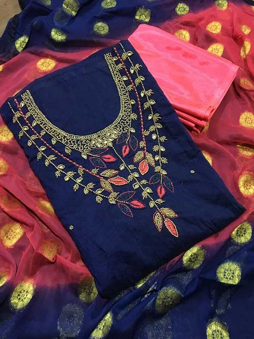 Blue Colored Beautiful Khatali Work Chanderi Cotton Dress Material.