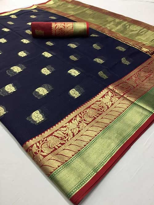 Blue Colored Beautiful Kota Silk Zari Weaving Saree Online - Ruhaani