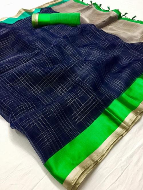 Blue Colored Beautiful Organza Chex Saree - Miraki