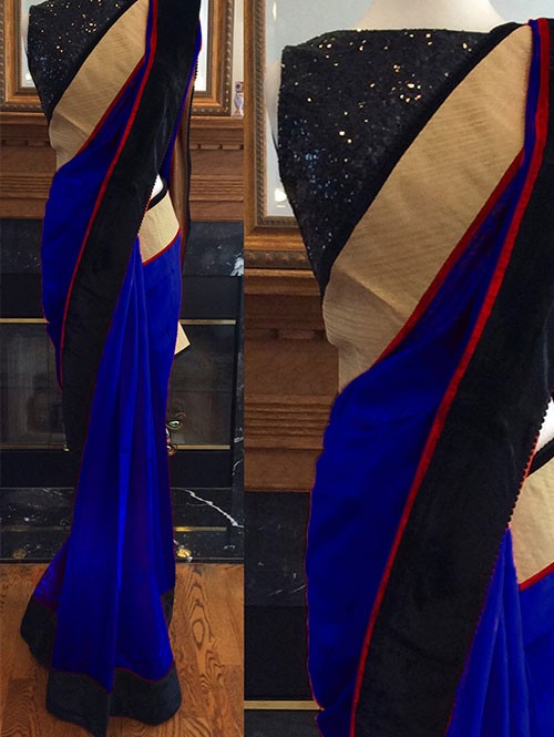 Blue Colored Beautiful Embroidered 60m Georgette Saree