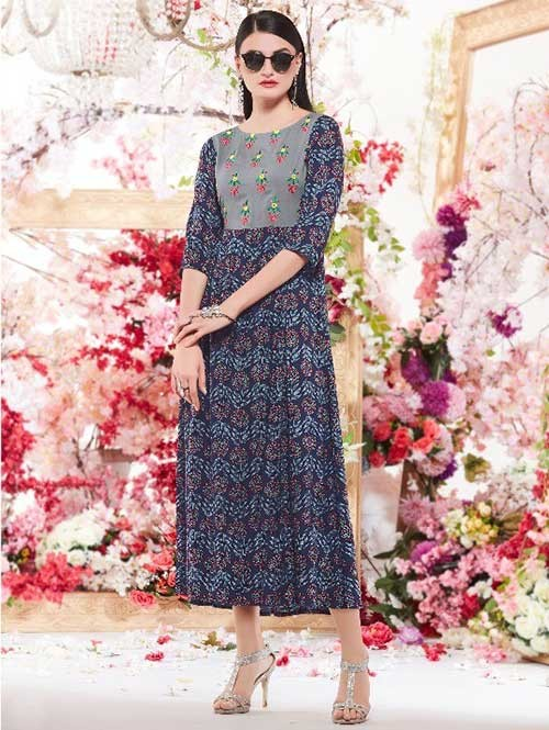 Blue Colored Beautiful Printed A-Line Rayon Kurti