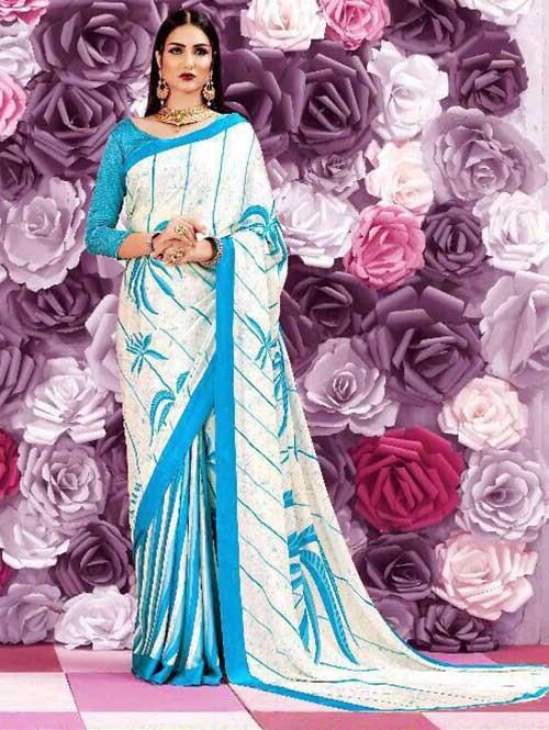 Blue Colored Beautiful Printed Crepe Saree