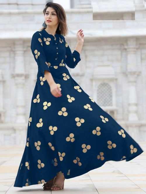 Blue Colored Beautiful Printed Indo-Western Rayon Kurti