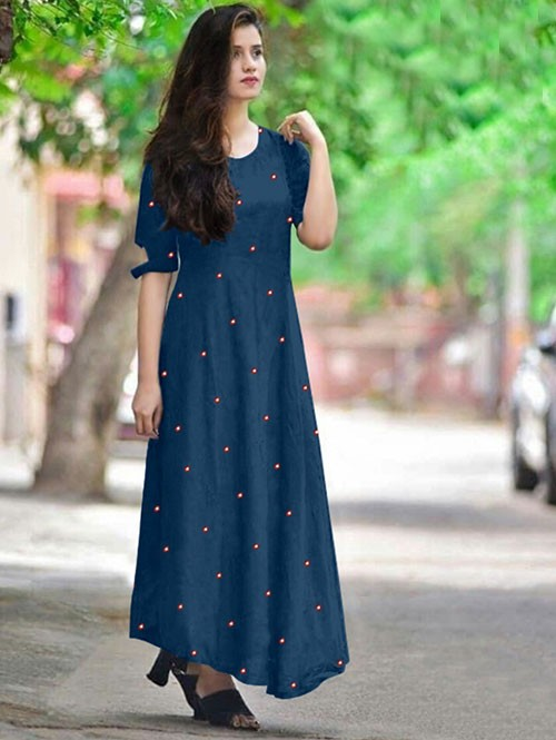 Blue Colored Beautiful Embroidered Mirror Foil Rayon Kurti