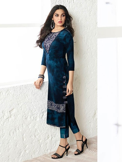 Blue Colored Beautiful Printed Rayon Kurti