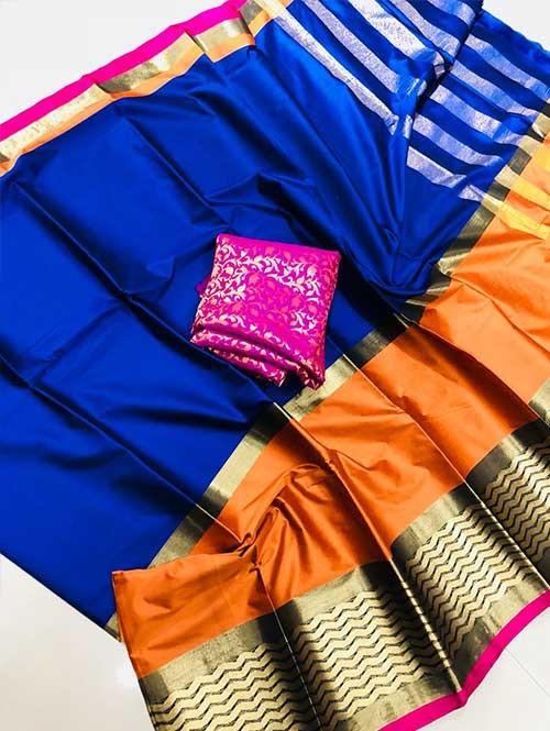 Blue Colored Beautiful Pure Silk Cotton Saree