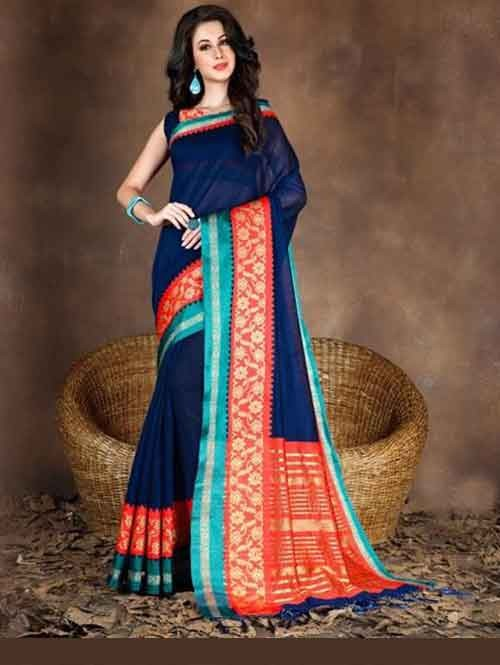 Blue Colored Beautiful Pure Soft Cotton Saree With Exclusive Latkan