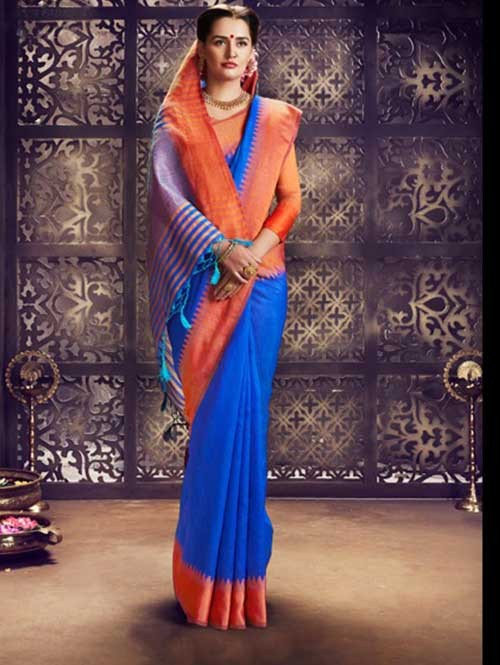 Blue Colored Beautiful Raw Silk Saree