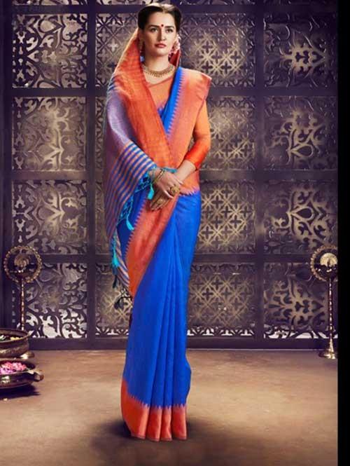 Blue Colored Beautiful Raw Silk Saree