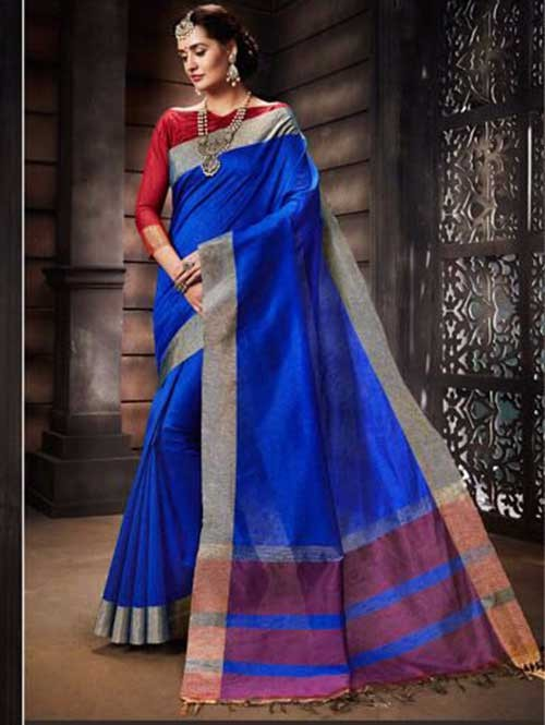 Blue Colored Beautiful Raw Silk Saree With Double Blouse