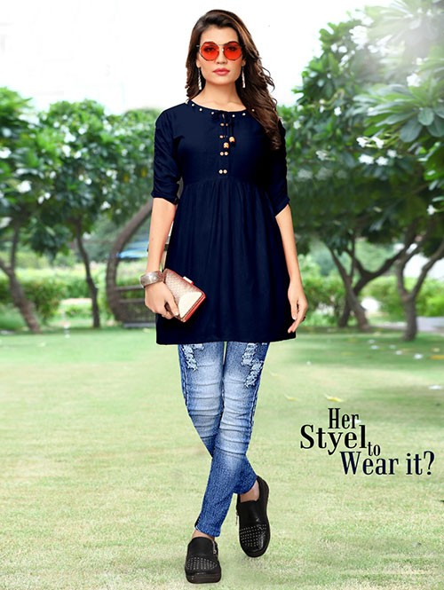 Blue Colored Beautiful Rayon Kurti With Fancy Wooden Button
