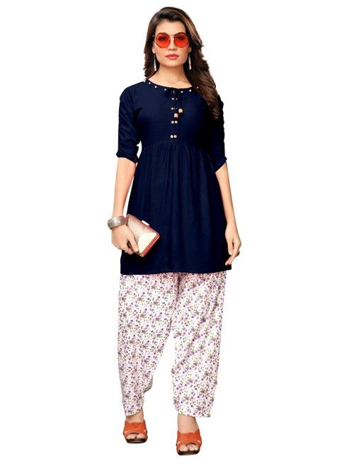 Blue Colored Beautiful Rayon Kurti With Printed Patiala