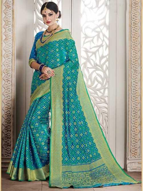 Blue Colored Beautiful Silk Weaving Saree