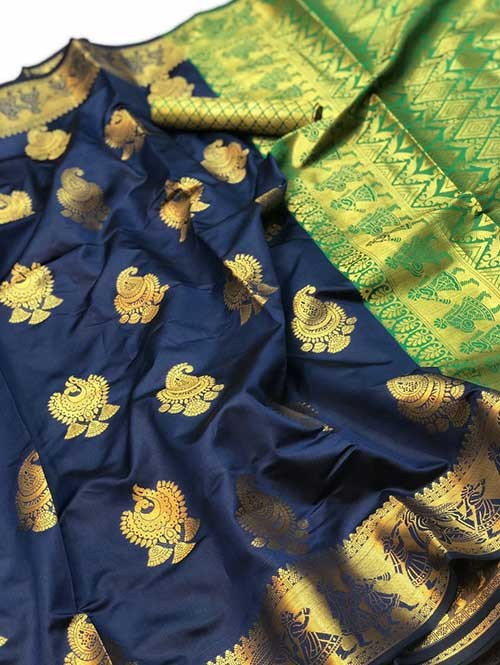Blue Colored Beautiful Soft Banarasi Silk Fancy Saree Online