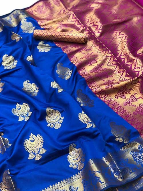 Blue Colored Beautiful Soft Banarasi Silk Fancy Saree Online