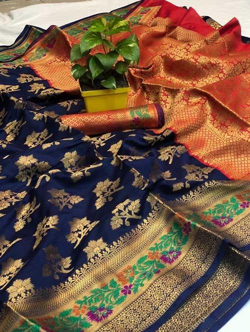 Blue Colored Beautiful Soft Banarasi Silk Mina Work Silk Saree Online