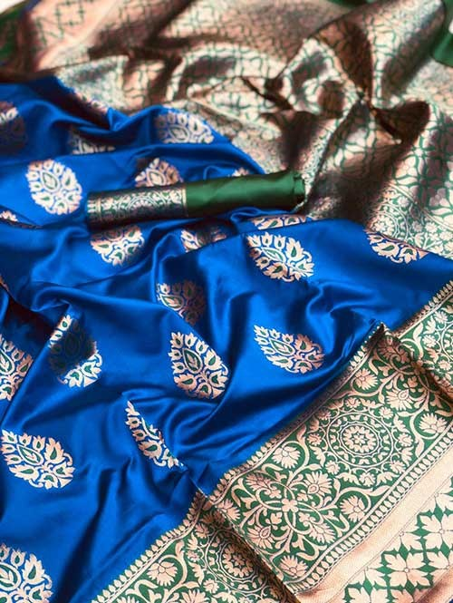 Blue Colored Beautiful Soft Katan Silk Traditional Saree Online