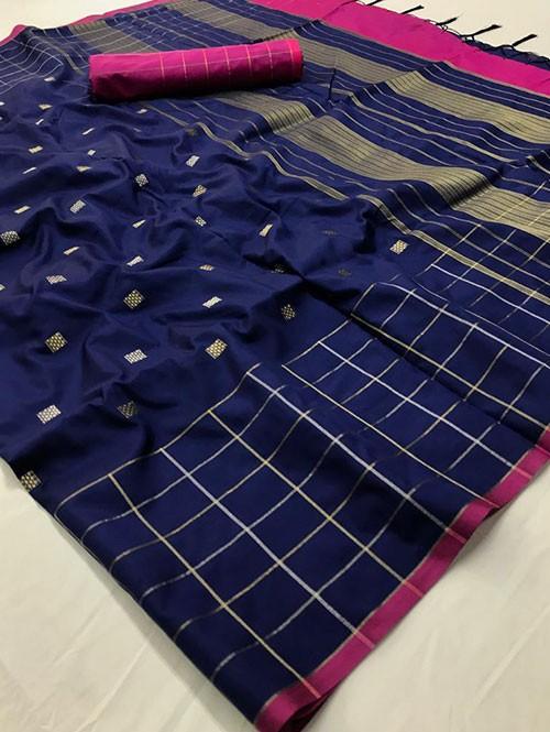 Blue Colored Beautiful Soft Silk Fancy Saree Online - Mishika