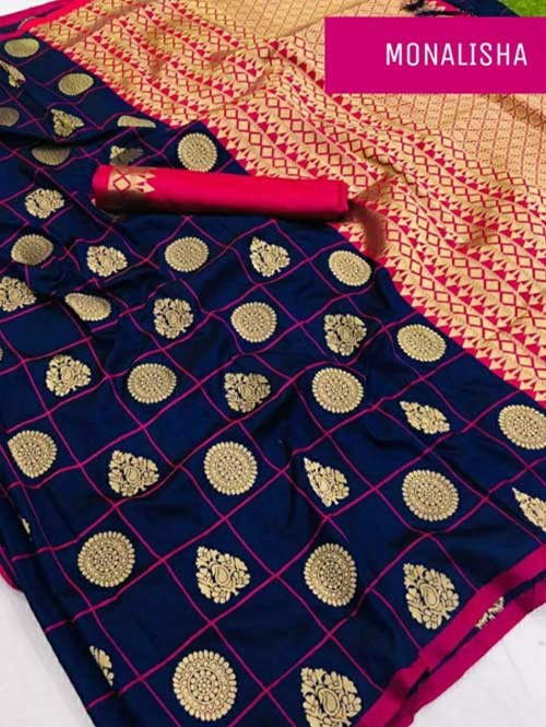 Blue Colored Beautiful Soft Silk Saree Online - Monalisha