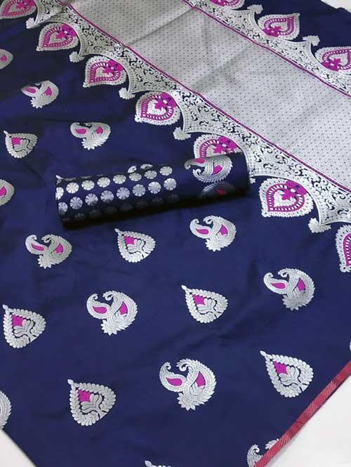 Blue Colored Beautiful Soft Silk Traditional Saree Online - Bhagyashree