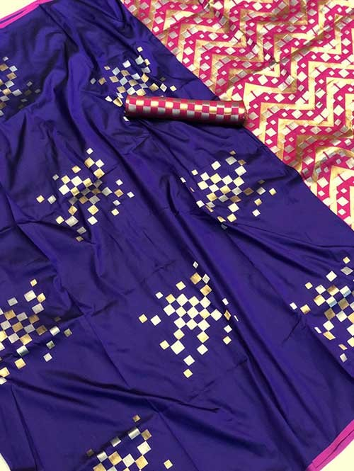 Blue Colored Beautiful Soft Silk Traditional Saree Online