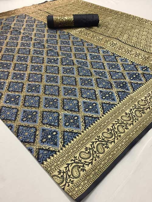 Blue Colored Beautiful Soft Silk Traditional Saree Online - Maher