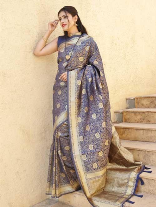 Blue Colored Beautiful Soft Silk Traditional Saree Online - Ria