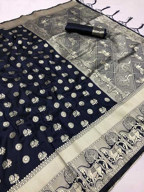 Blue Colored Beautiful Soft Silk Traditional Saree With Kachi Border