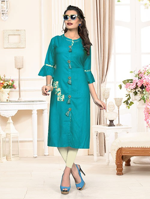 Blue Colored Beautiful Solid Straight Rayon Kurti
